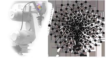 빔 형성 안테나 음향 카메라 홀로그래피가있는 로봇 암의 빔 형성 측정을위한 Bionic M 마이크로폰 어레이
