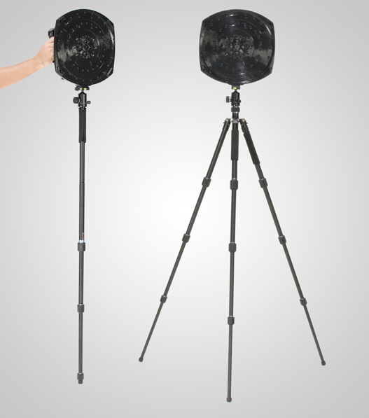 SoundCam handheld device with tripod usable as tripod or monopod